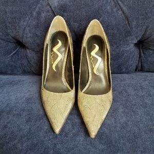 Antique Gold Metallic Pointy Toe Pumps